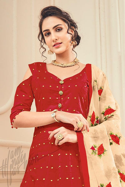 Indi Fashion Red and Light Peach Jacquard Silk Party Wear Suit