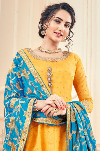 Indi Fashion Yellow and Blue Jacquard Silk Party Wear Suit