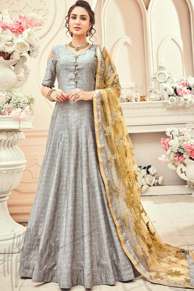 Indi Fashion Gray and Gold Jacquard Silk Party Wear Suit