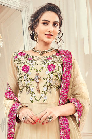 Indi Fashion Cream Jacquard Silk Party Wear Suit
