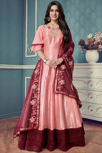 Indi Fashion Peach and Wine Silk Floor Length Party Wear Suit