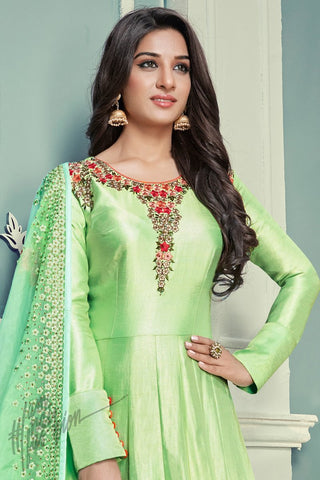 Indi Fashion Neon Green Silk Floor Length Party Wear Suit
