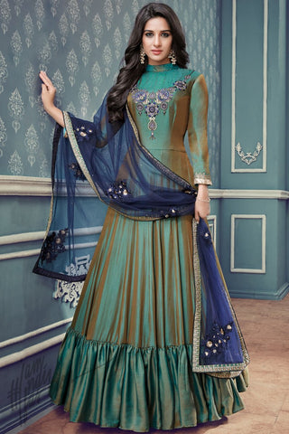 Indi Fashion Shadow Olive Green and Blue Silk Floor Length Party Wear Suit