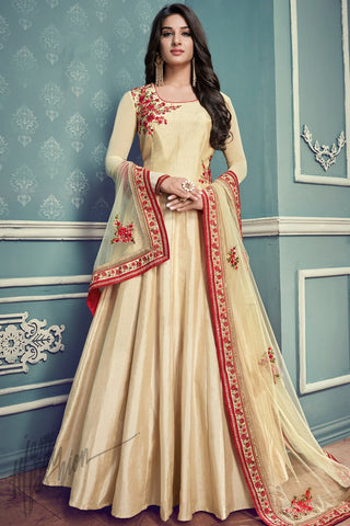 Indi Fashion Cream Silk Floor Length Party Wear Suit
