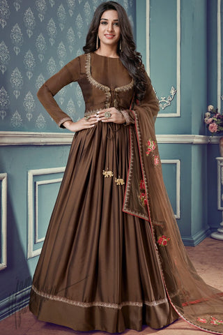 Indi Fashion Brown Silk Floor Length Party Wear Suit