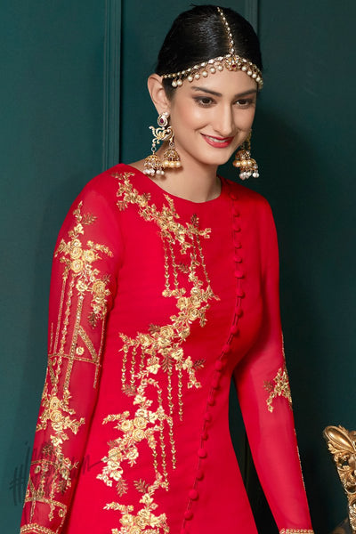 Indi Fashion Red Georgette Ankle Length Party Wear Straight Suit