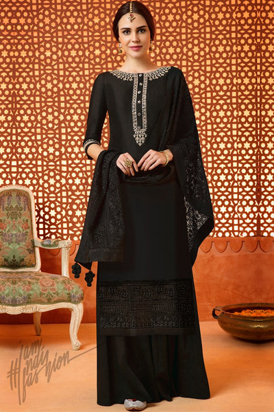Indi Fashion Black Silk Cotton Satin Sharara Suit