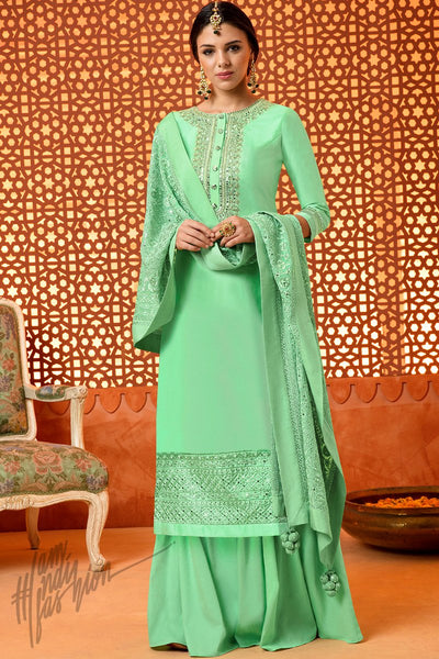 Indi Fashion Green Silk Cotton Satin Sharara Suit
