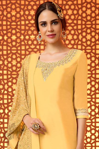 Indi Fashion Yellow Silk Cotton Satin Sharara Suit