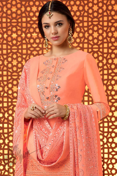 Indi Fashion Peach Silk Cotton Satin Sharara Suit