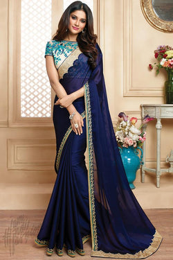 Indi Fashion Off White and Blue Party Wear Saree