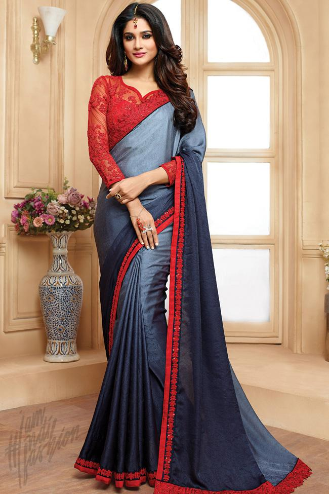 Indi Fashion Red and Gray Shaded Georgette Party Wear Saree