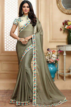 Indi Fashion Off White and Light Olive Green Chiffon Party Wear Saree