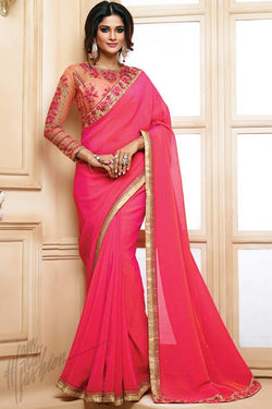 Indi Fashion Peach and Pink Georgette Party Wear Saree