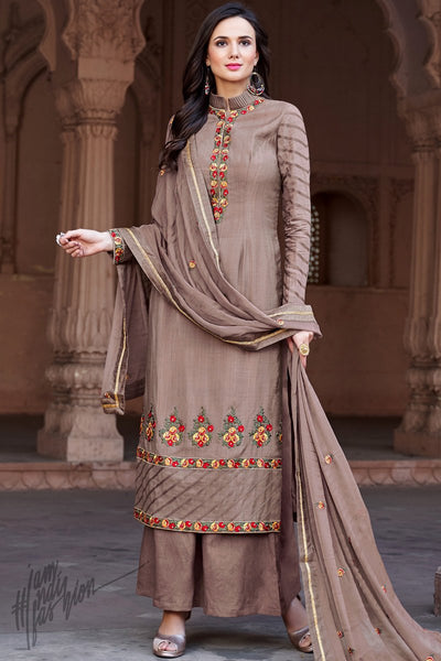 Brown Cotton Silk Palazzo Suit