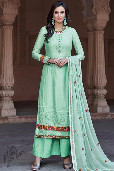 Pastel Green Cotton Silk Palazzo Suit