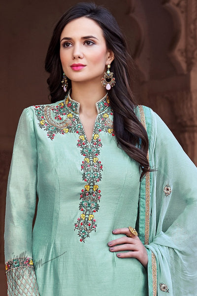 Light Teal Cotton Silk Palazzo Suit