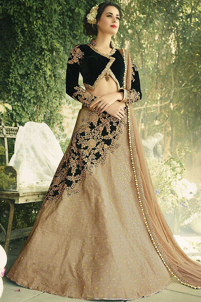 Buy Beige and Black Jacquard and Velvet Party Wear Lehenga Set Online at indi.fashion