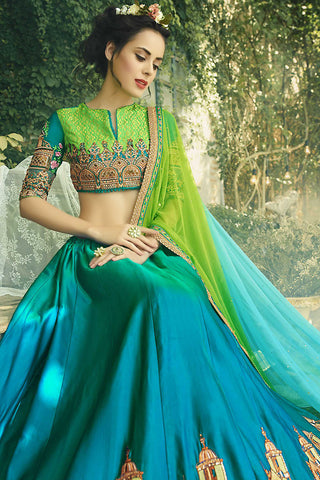 Indi Fashion Parrot Green and Sea Green Crepe Silk Party Wear Lehenga Set