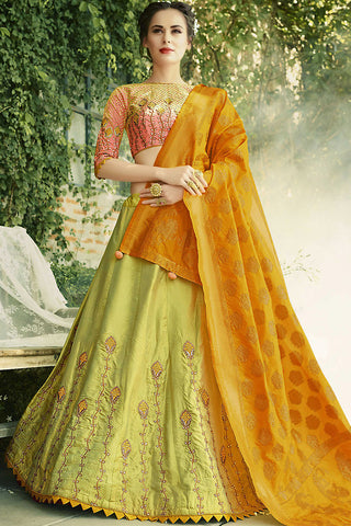 Buy Pink Orange and Olive Green Crepe Silk Party Wear Lehenga Set Online at indi.fashion