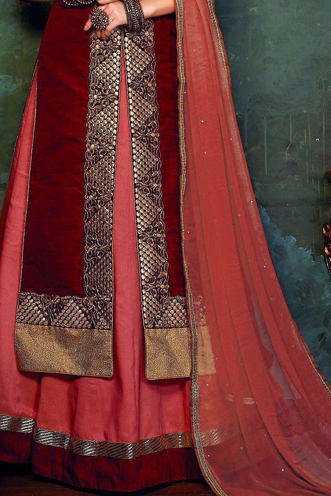 Indi Fashion Maroon and Peach Art Silk Long Jacket Style Embroidered Lehenga Set