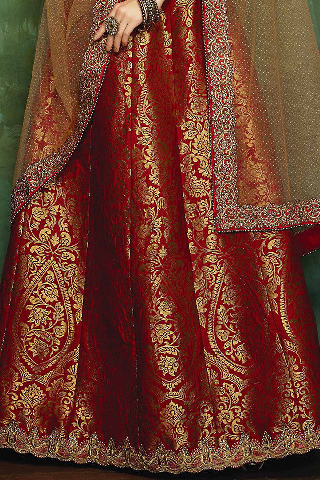 Indi Fashion Red and Maroon Banarasi Silk Embroidered Lehenga Set