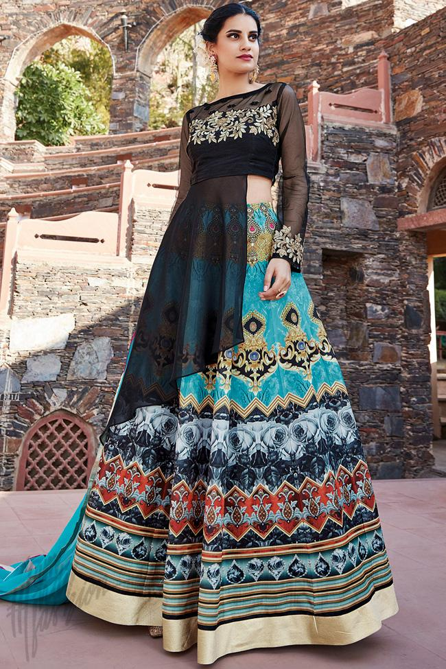 Indi Fashion Black Multicolor Silk lehenga Set