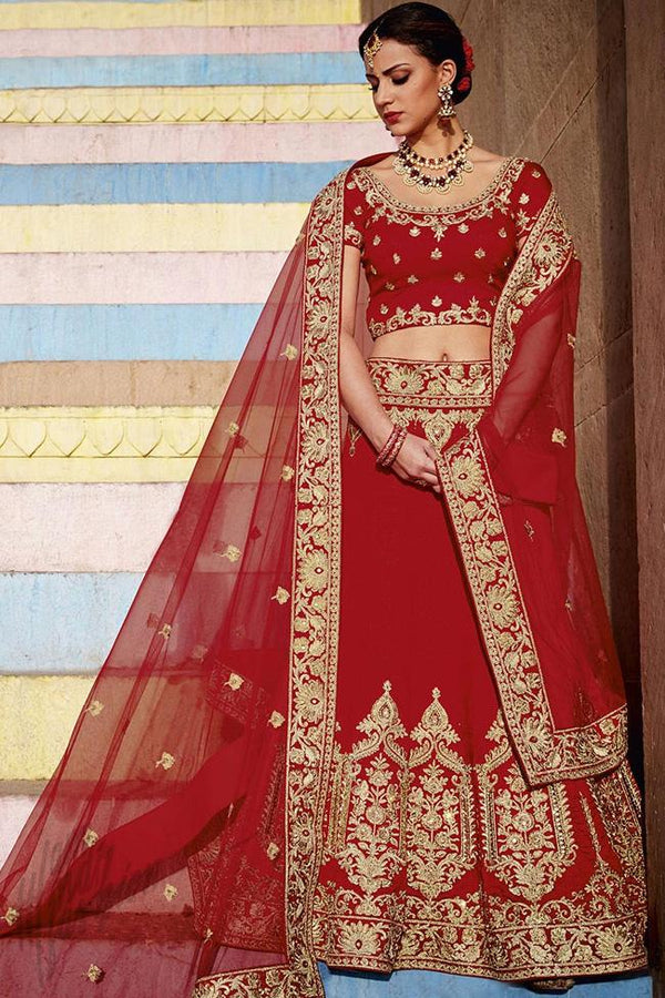 Indi Fashion Red Bangalori Silk Lehenga Set