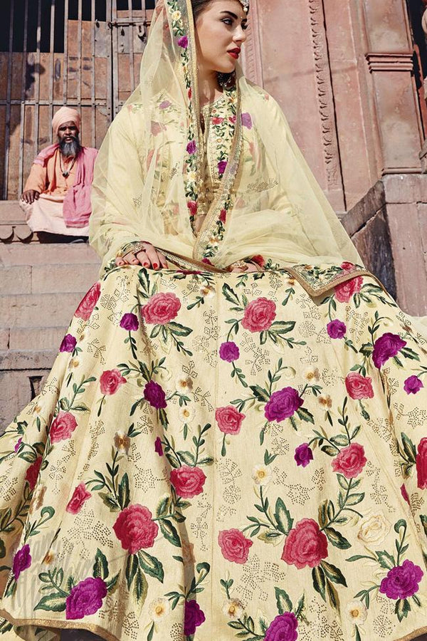 Indi Fashion Cream Bangalori Silk Lehenga Set