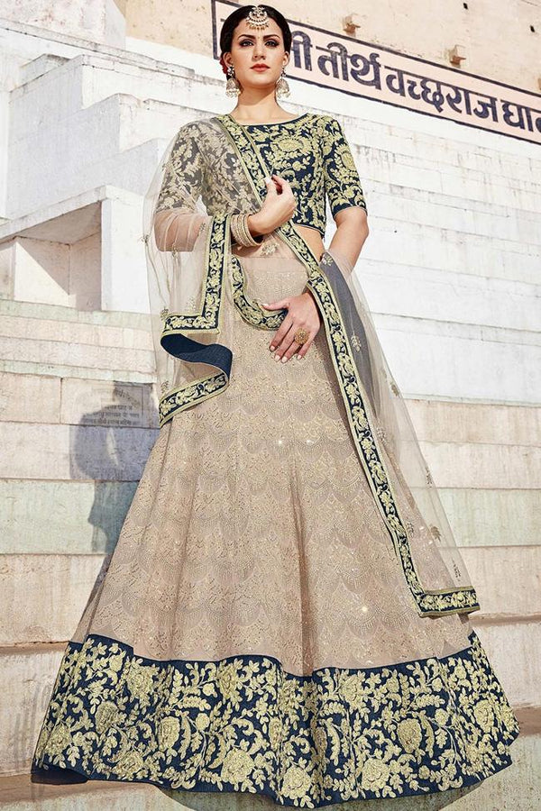 Indi Fashion Beige and Blue Bangalori Silk Lehenga Set