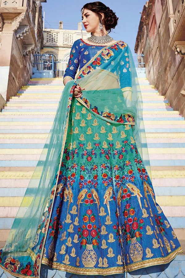 Indi Fashion Peacock Blue and Green Shaded Bangalori Silk Lehenga Set