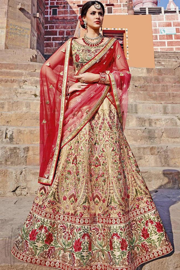 Indi Fashion Beige and Red Bangalori Silk Lehenga Set
