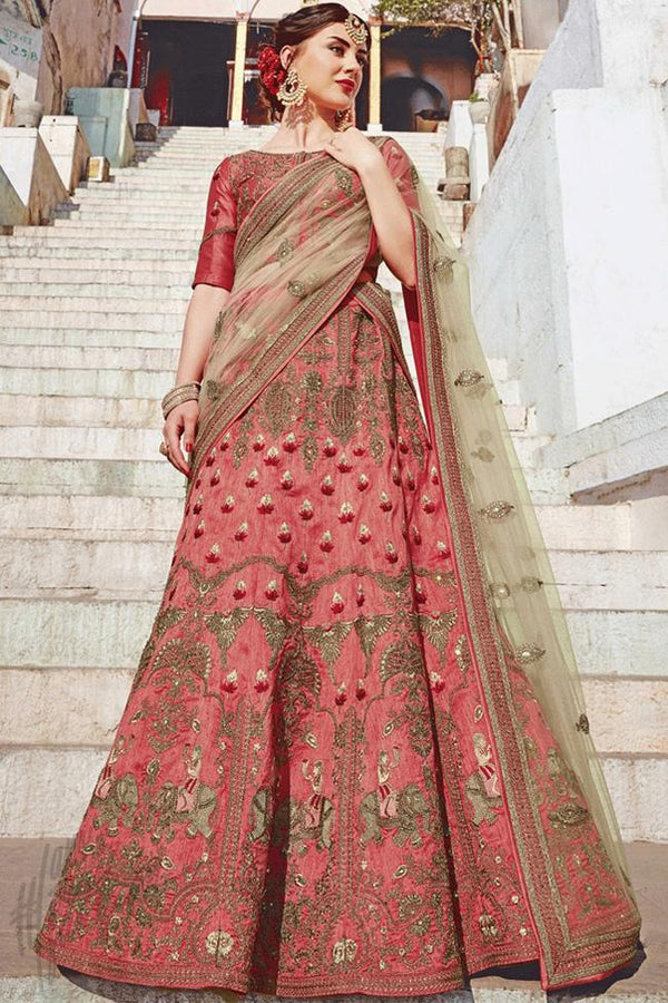 Indi Fashion Hot Pink Bangalori Silk Lehenga Set