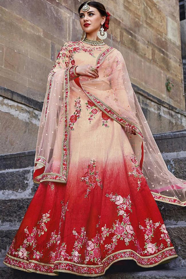 Indi Fashion Peach and Red Shaded Bangalori Silk Lehenga Set