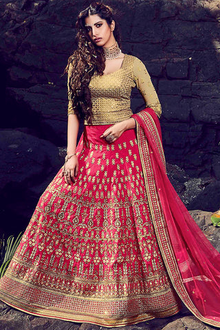 Indi Fashion Pink and Beige Paris Silk Wedding Lehenga Set