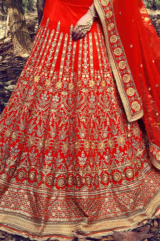 Indi Fashion Orange and Gold Taffeta Silk Wedding Lehenga Set