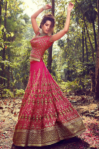 Indi Fashion Pink and Gold Crystal Silk Wedding Lehenga Set