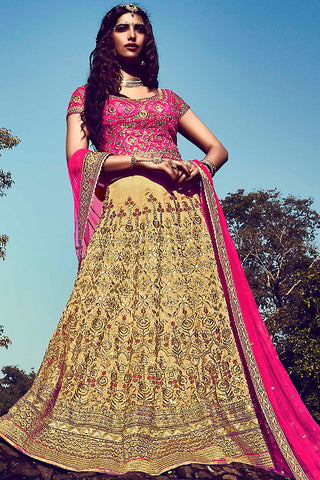 Indi Fashion Pink and Beige Bhagalpuri Silk Wedding Lehenga Set