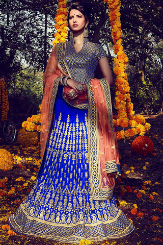 Indi Fashion Blue and Gold Bhagalpuri Silk Wedding Lehenga Set
