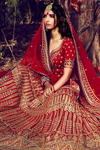 Indi Fashion Red and Gold Bhagalpuri Silk Wedding Lehenga Set