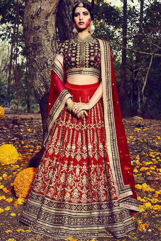 Indi Fashion Red and Maroon Dupion Silk Wedding Lehenga Set