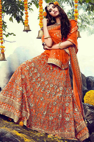 Indi Fashion Orange and Gold Bhagalpuri Silk Wedding Lehenga Set