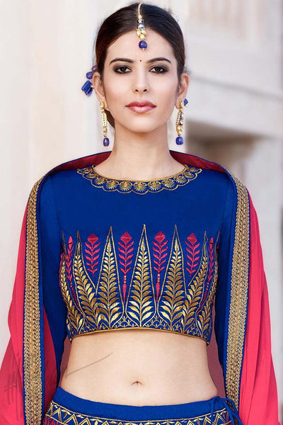 Buy Blue Bangalori Silk Lehenga Set Online at indi.fashion