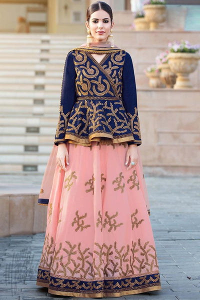 Buy Blue and Baby Pink Bangalori Silk Lehenga Set with Kediyu Style Choli Online at indi.fashion