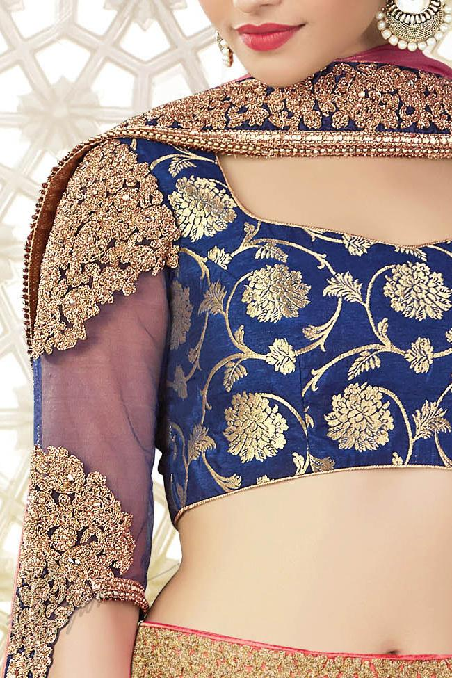 Pink and Blue Paper Silk Party Wear Lehenga Choli