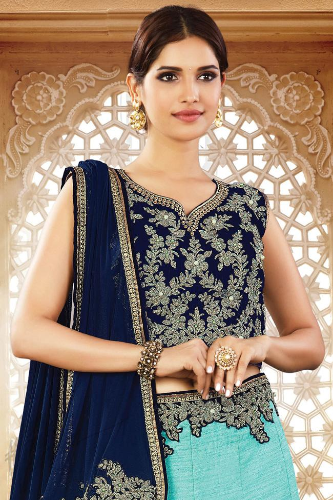Sky Blue and Navy Blue Silk Party Wear Lehenga Choli