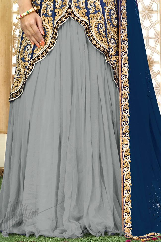 Gray and Blue Chiffon Party Wear Lehenga Choli