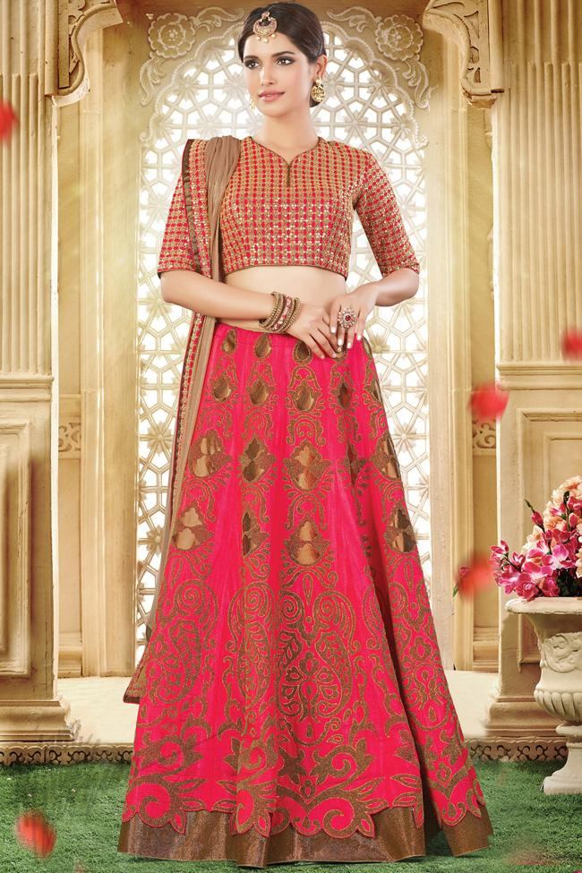 Pink and Red Dual Tone Silk Party Wear Lehenga Choli