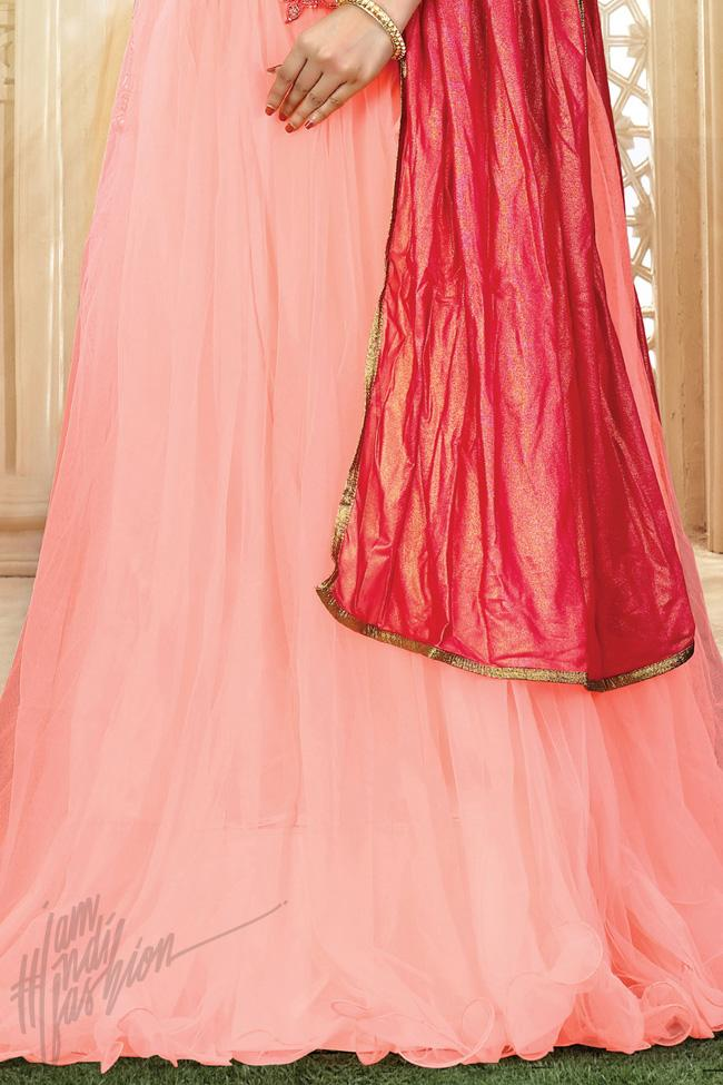Red and Baby Pink Net Party Wear Lehenga Choli