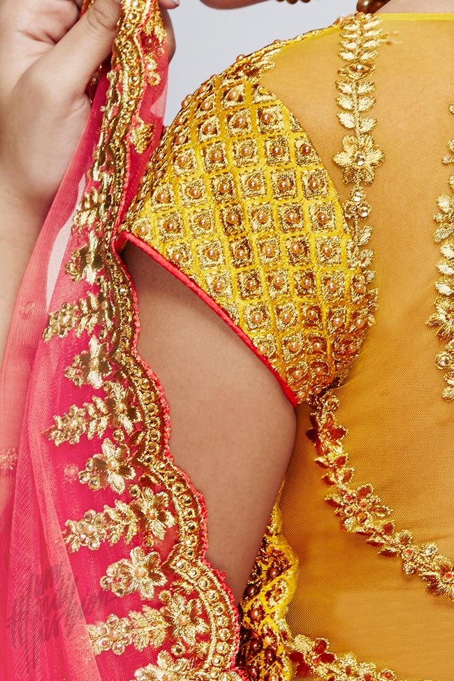 Indi Fashion Pink and Mustard Yellow Handloom Silk Wedding Lehenga Set